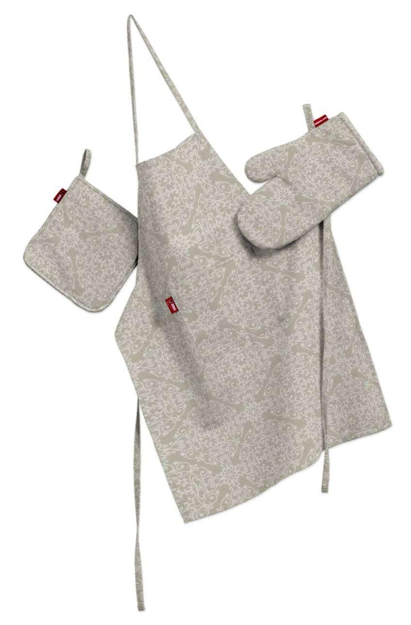 Komplet kuchenny fartuch,rękawica i łapacz kpl w kolekcji Flowers, tkanina: 140-39
