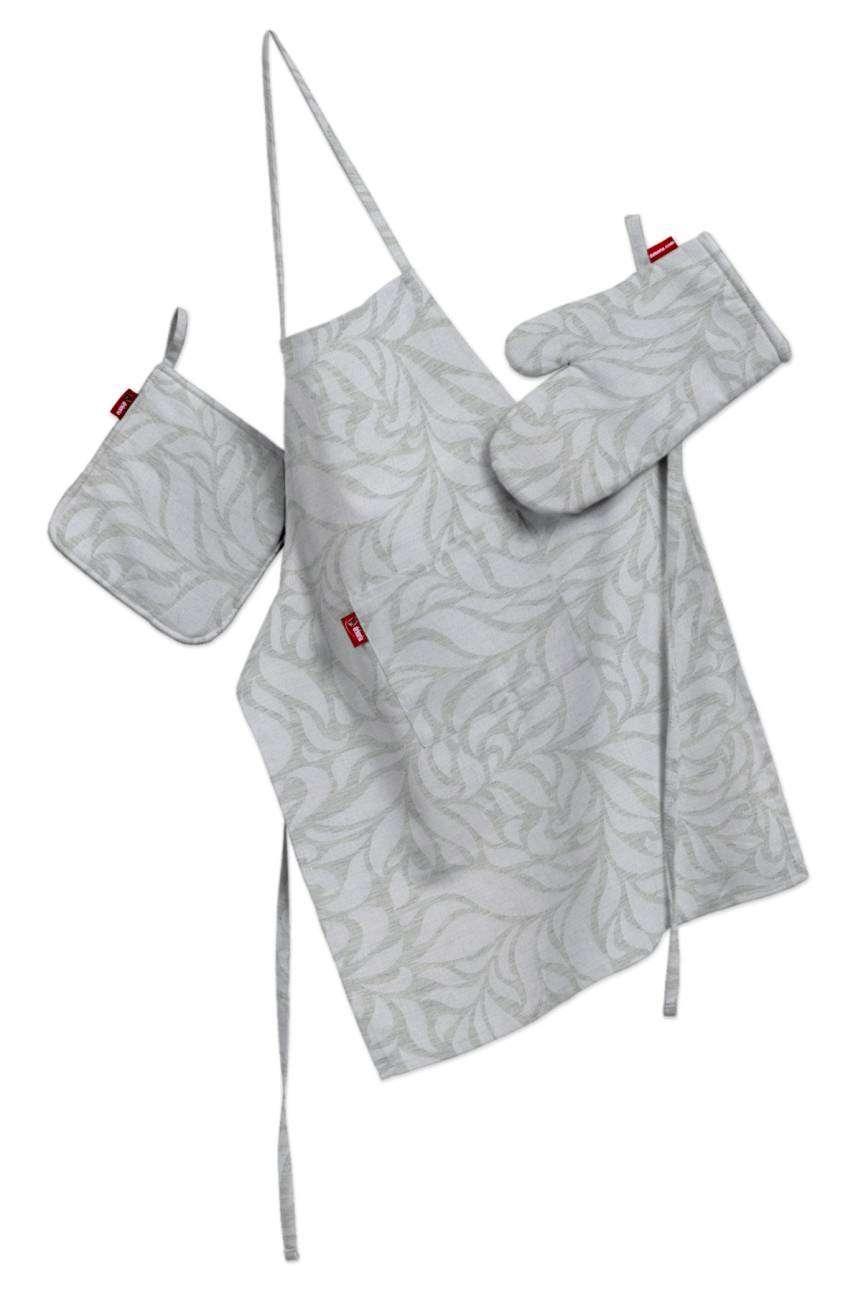 Komplet kuchenny łapacz, rękawica oraz fartuch kpl w kolekcji Venice, tkanina: 140-50