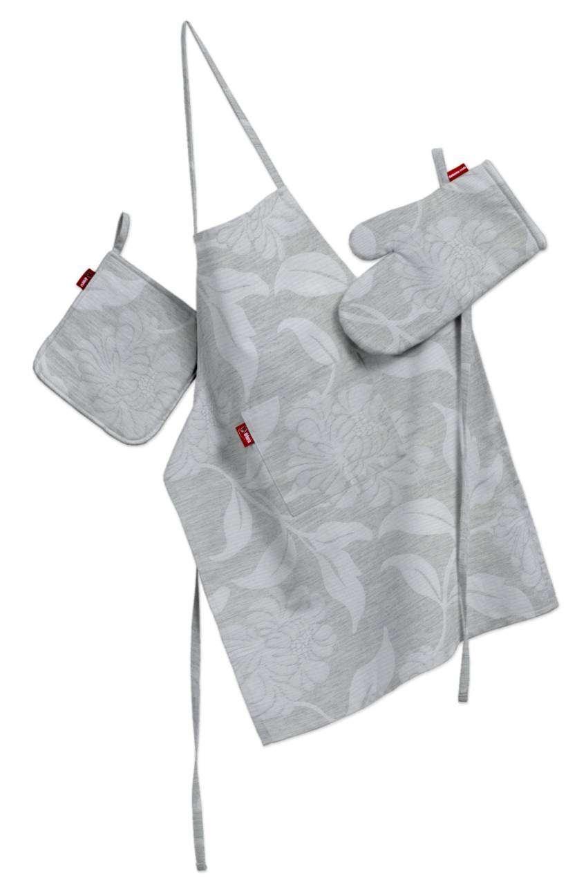 Komplet kuchenny fartuch,rękawica i łapacz kpl w kolekcji Venice, tkanina: 140-51