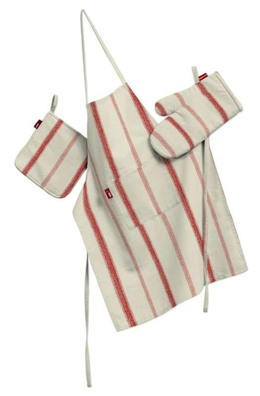 Tekstilės rinkinys virtuvei: prijuostė, puodų laikiklis ir orkaitės pirštinės Rinkinys kolekcijoje Avinon, audinys: 129-15