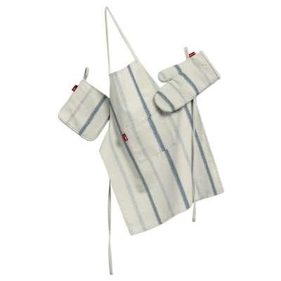 Tekstilės rinkinys virtuvei: prijuostė, puodų laikiklis ir orkaitės pirštinės 129-66 mėlynos juostelės dramblio kaulo fone Kolekcija Avinon