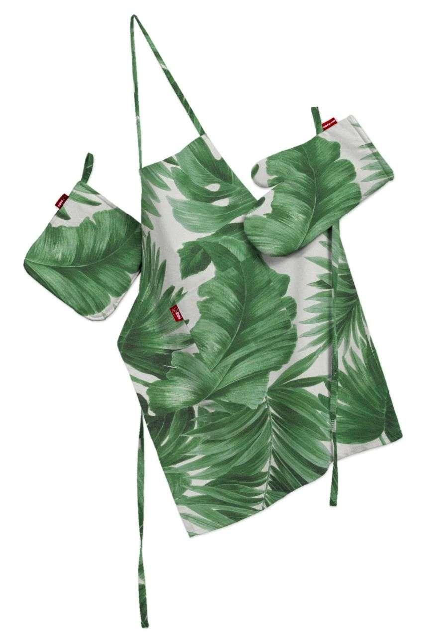 Køkkensæt: forklæde, handske og grydelap fra kollektionen Tropical Island, Stof: 141-71