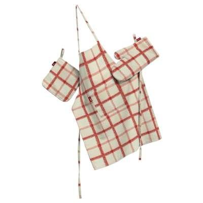 Küchenset: Schürze, Handschuh, Topflappen 131-15 creme- rot Kollektion Avinon