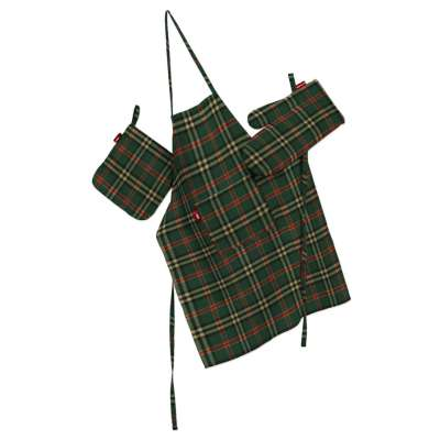 Keukenset: schort, handschoenen, pannenlap 142-69 groen-rood ruit Collectie Bristol