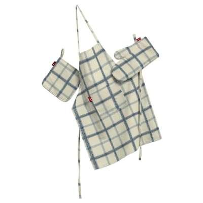 Tekstilės rinkinys virtuvei: prijuostė, puodų laikiklis ir orkaitės pirštinės 131-66 mėlyni kvadratėliai dramblio kaulo spalvos fone Kolekcija Avinon