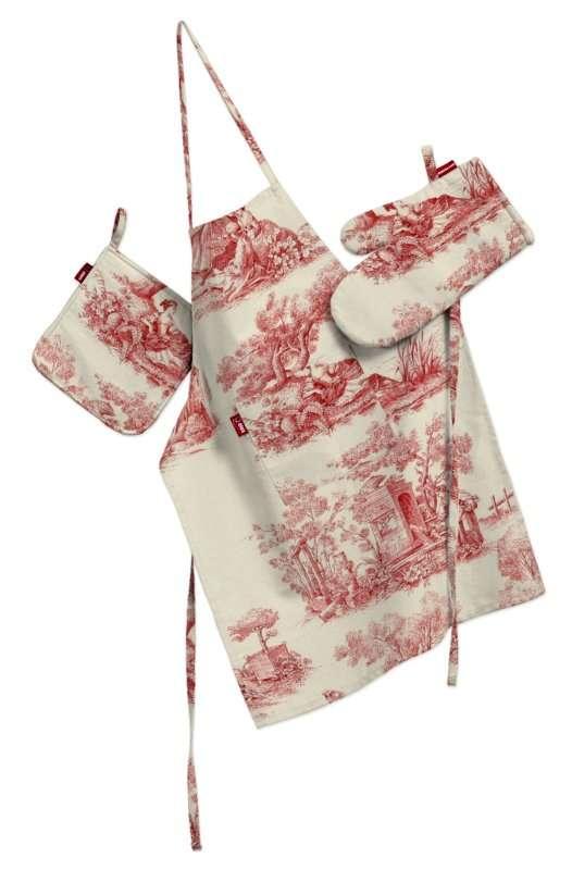 Komplet kuchenny fartuch,rękawica i łapacz kpl w kolekcji Avinon, tkanina: 132-15