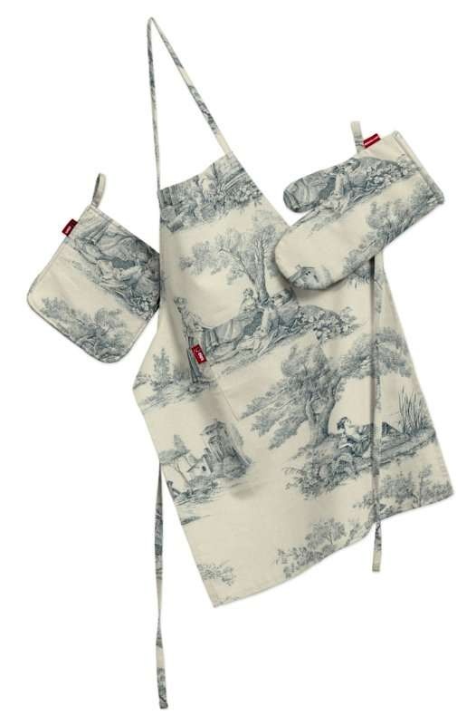 Komplet kuchenny fartuch,rękawica i łapacz kpl w kolekcji Avinon, tkanina: 132-66
