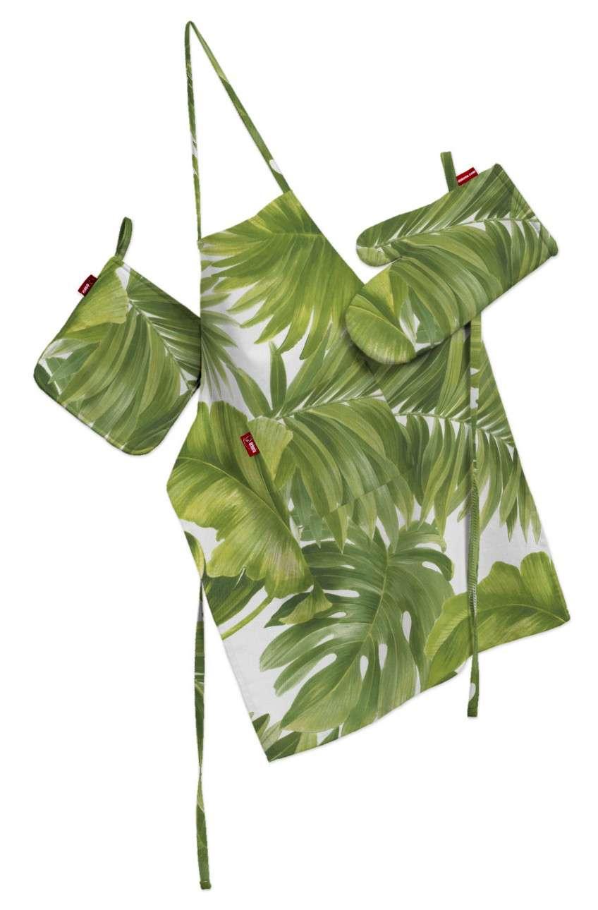 Komplet kuchenny fartuch,rękawica i łapacz w kolekcji Tropical Island, tkanina: 143-63