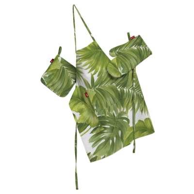 Küchenset: Schürze, Handschuh, Topflappen 143-63 seledynowe liście na białym tle Kollektion Tropical Island