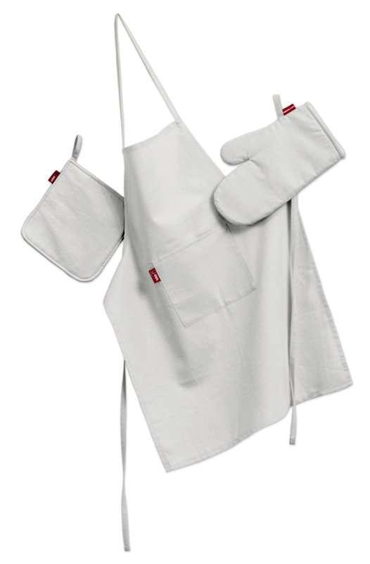 Tekstilės rinkinys virtuvei: prijuostė, puodų laikiklis ir orkaitės pirštinės Rinkinys kolekcijoje Jupiter, audinys: 127-01