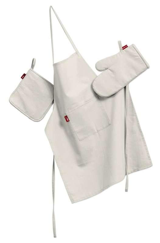 Tekstilės rinkinys virtuvei: prijuostė, puodų laikiklis ir orkaitės pirštinės Rinkinys kolekcijoje Jupiter, audinys: 127-00