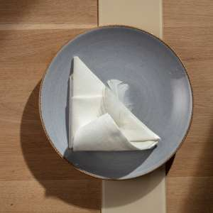 komplet 12szt. serwetek 42x42cm kremowo-biały len 42x42