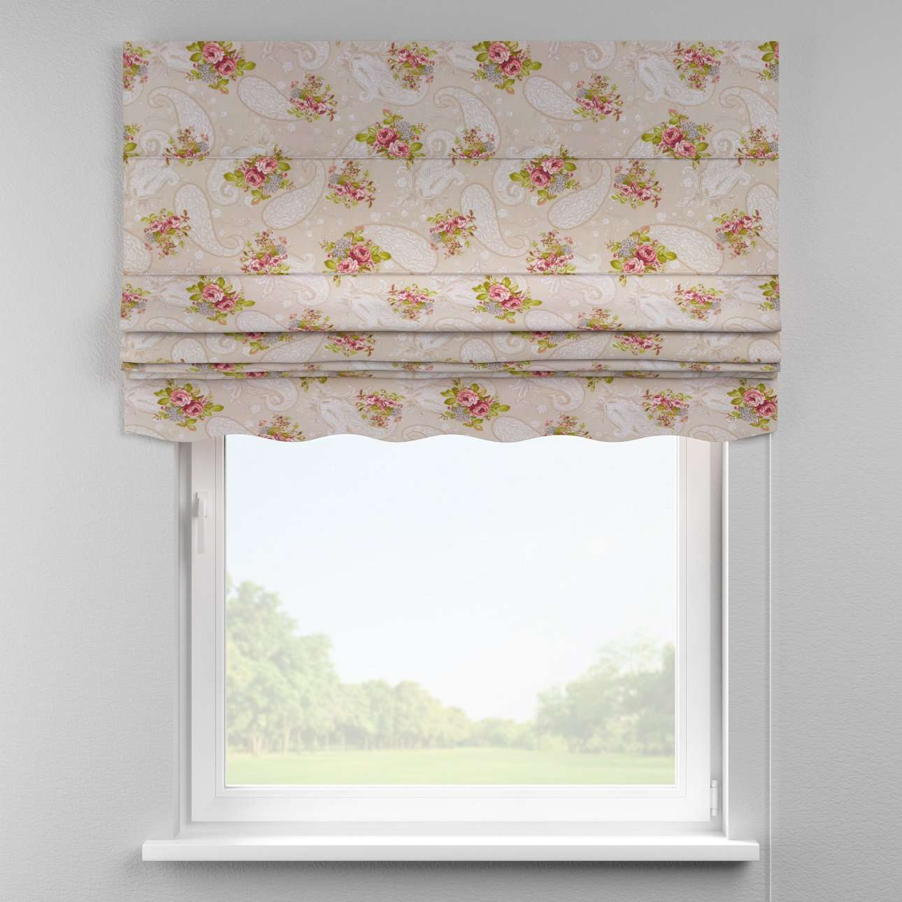 Florence roman blind  80 x 170 cm (31.5 x 67 inch) in collection Flowers, fabric: 311-15