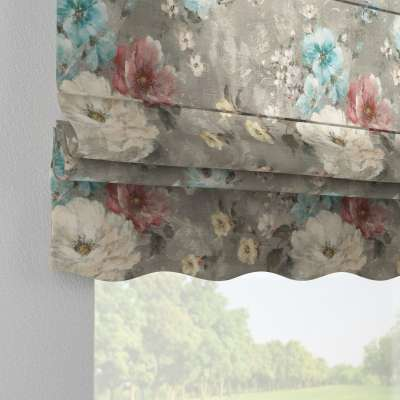 Florence roman blind 137-81 pink and blue flowers on grey background Collection Flowers