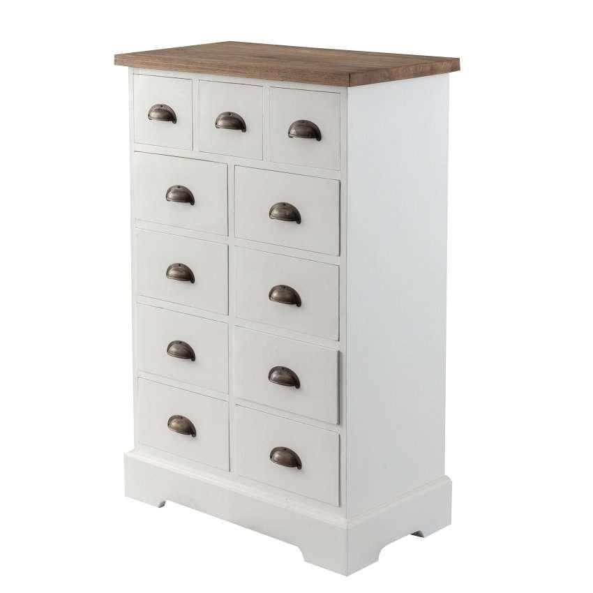 Dekoria Komoda Brighton 11 szuflad white&natural