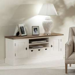 Szafka RTV Brighton 150x40x65cm white&natural