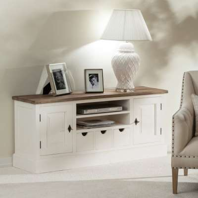Tv-meubel Brighton 150x40x65cm white&natural Mediameubels - Dekoria.nl