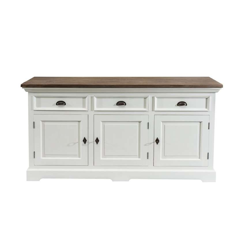 Dressoir Brighton 180x55x95cm white&natural grey