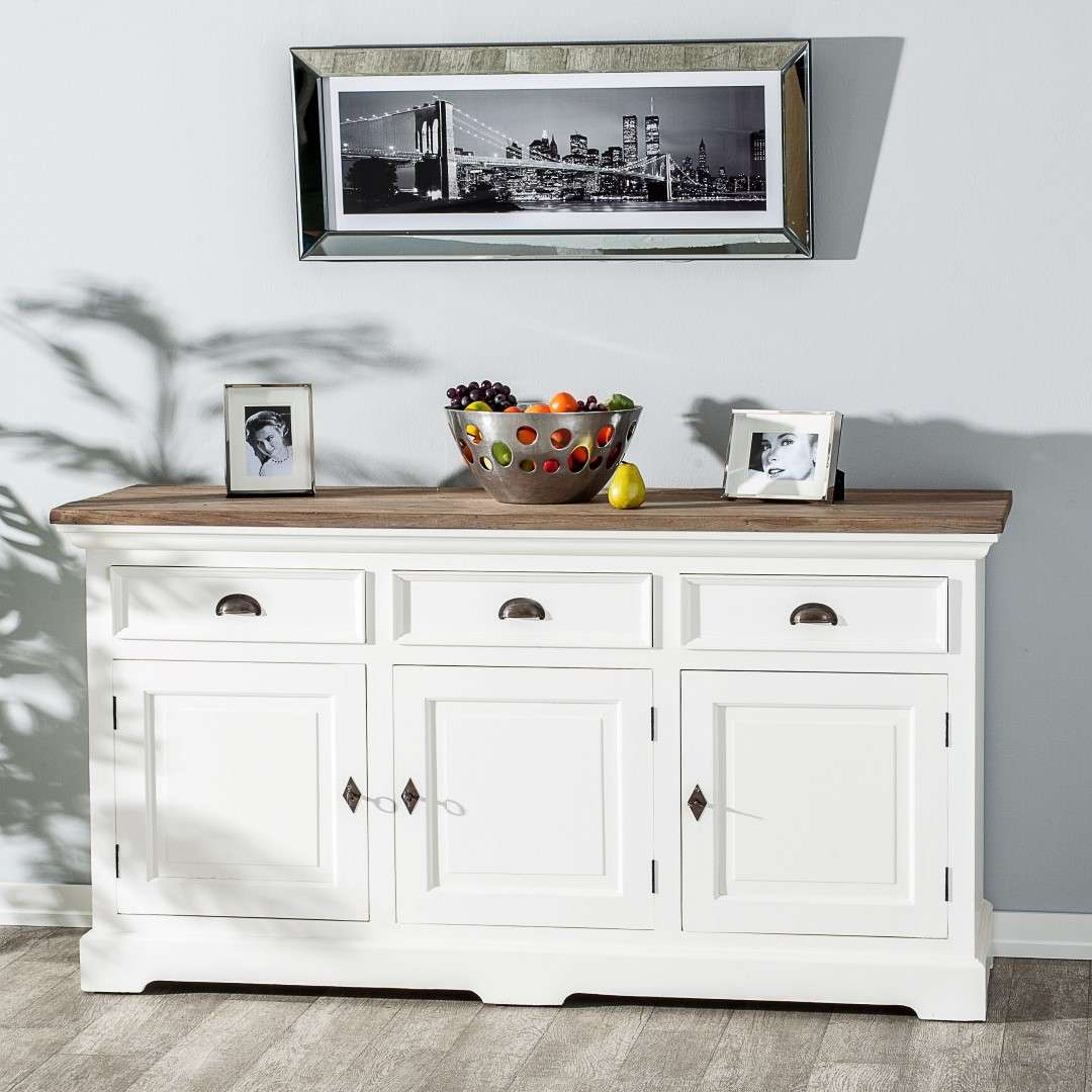 Kommode Brighton 180x55x95cm white&natural grey 180x55x95cm