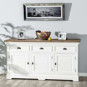 Kommode Brighton 180x55x95cm white&natural grey