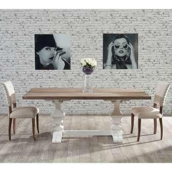 Stół Chester 180x90x78cm white&natural grey 180x90x78cm