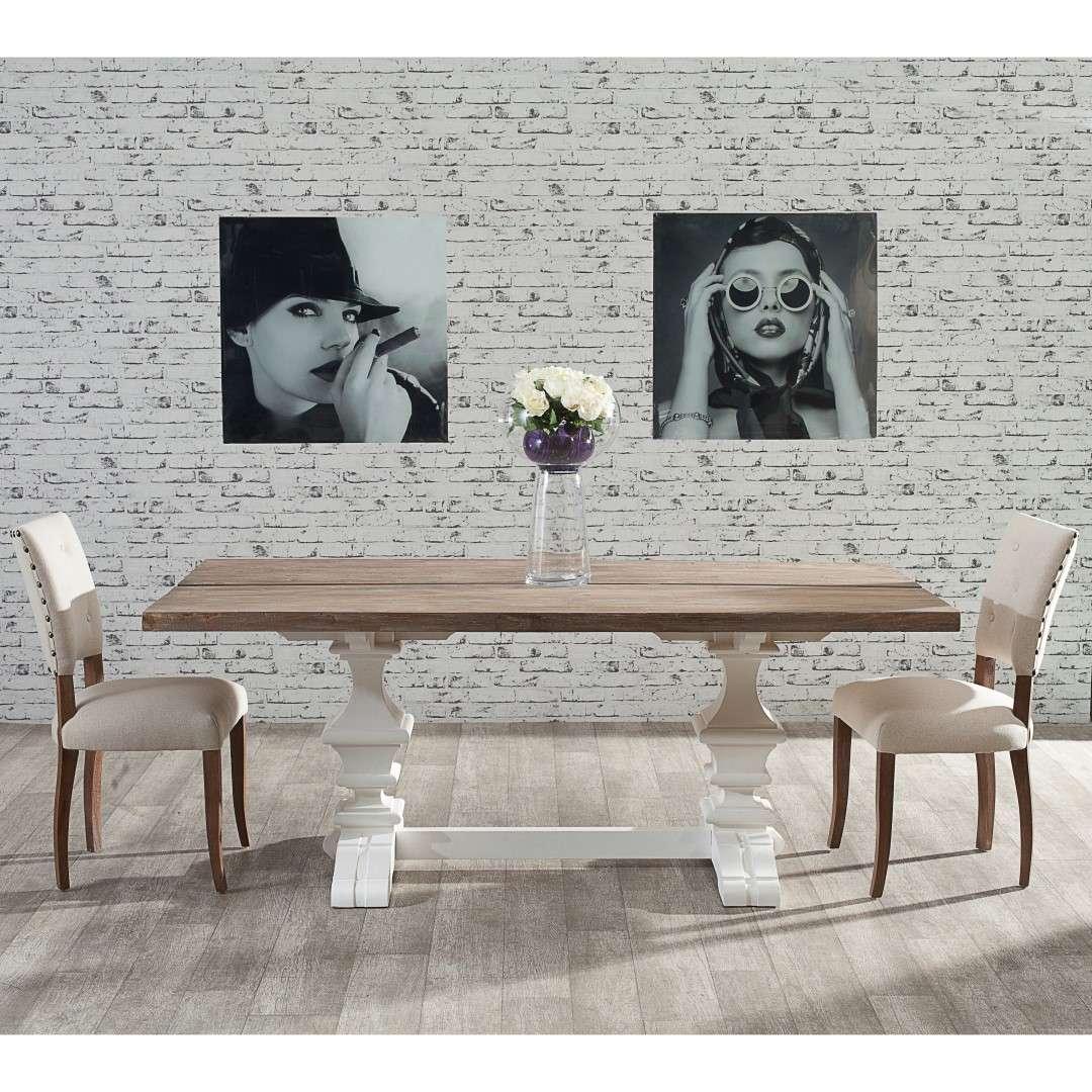 Tisch Chester 200x100x78cm white&natural grey 200x100x78cm