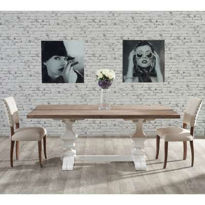 Stół Chester 200x100x78cm white&natural grey