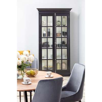 Vitrinenkast Josephine 110x45x210cm black Franse meubels - Dekoria.nl
