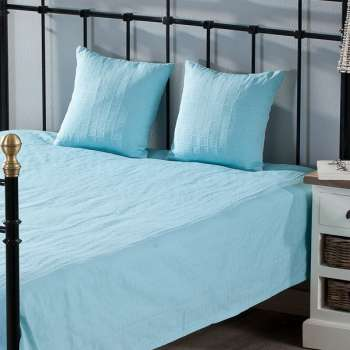 Schlafzimmer Set Milena turquoise 180x250cm Plaid + 2 Kissenhüllen