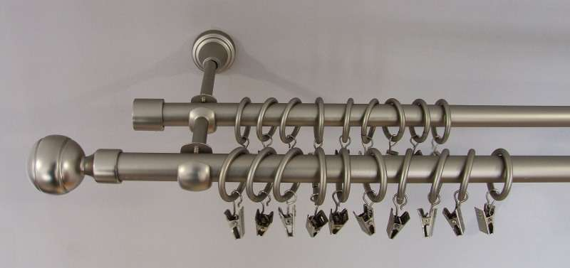 Gardinenstange Kugel matt silber (2-läufig) 160 cm