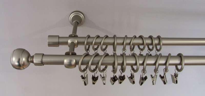 Karnizai dvigubi - satininio nikelio spalva 160 cm