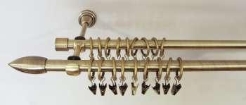 Karnisz podwójny Strzelec złoty antyk