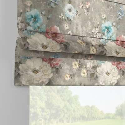 Roleta rzymska Padva 137-81 niebieskie i różowe kwiaty na szarym tle Kolekcja Flowers
