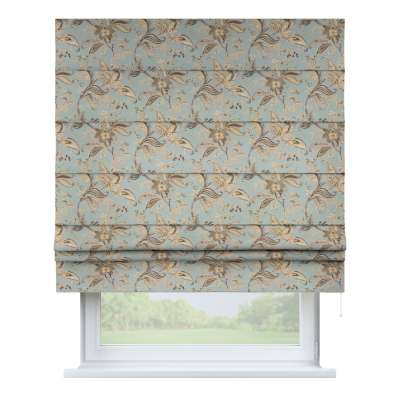 Padva roman blind 142-18 large floral print on a duck egg background Collection Gardenia