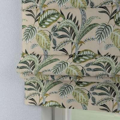 Roleta rzymska Padva 142-96 oliwkowo-zielone liście na lnianym tle Kolekcja Tropical Island