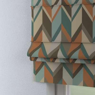 Vouwgordijn Padva 143-62 geometryczne wzory w rudo-brązowo-niebieskiej kolorystyce Collectie Vintage 70's