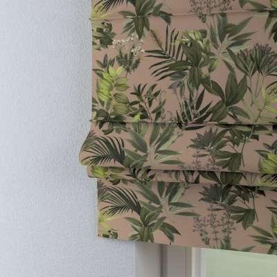 Roleta rzymska Padva 143-71 zielona roślinność na brudnoróżowym tle Kolekcja Tropical Island