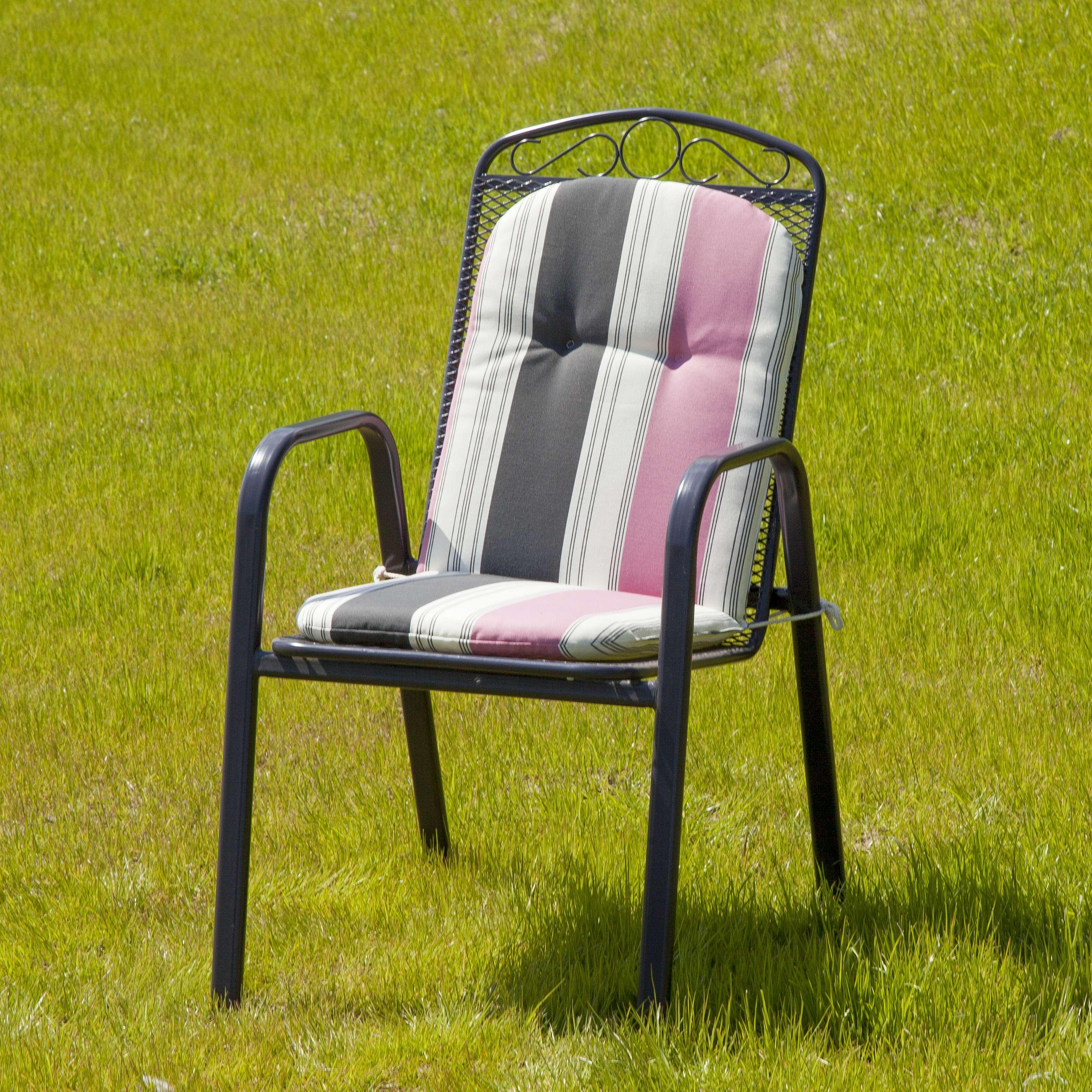 Kėdės čiužinys 94x40x3,5cm pilkai rausvos juostos 94x40x3,5cm