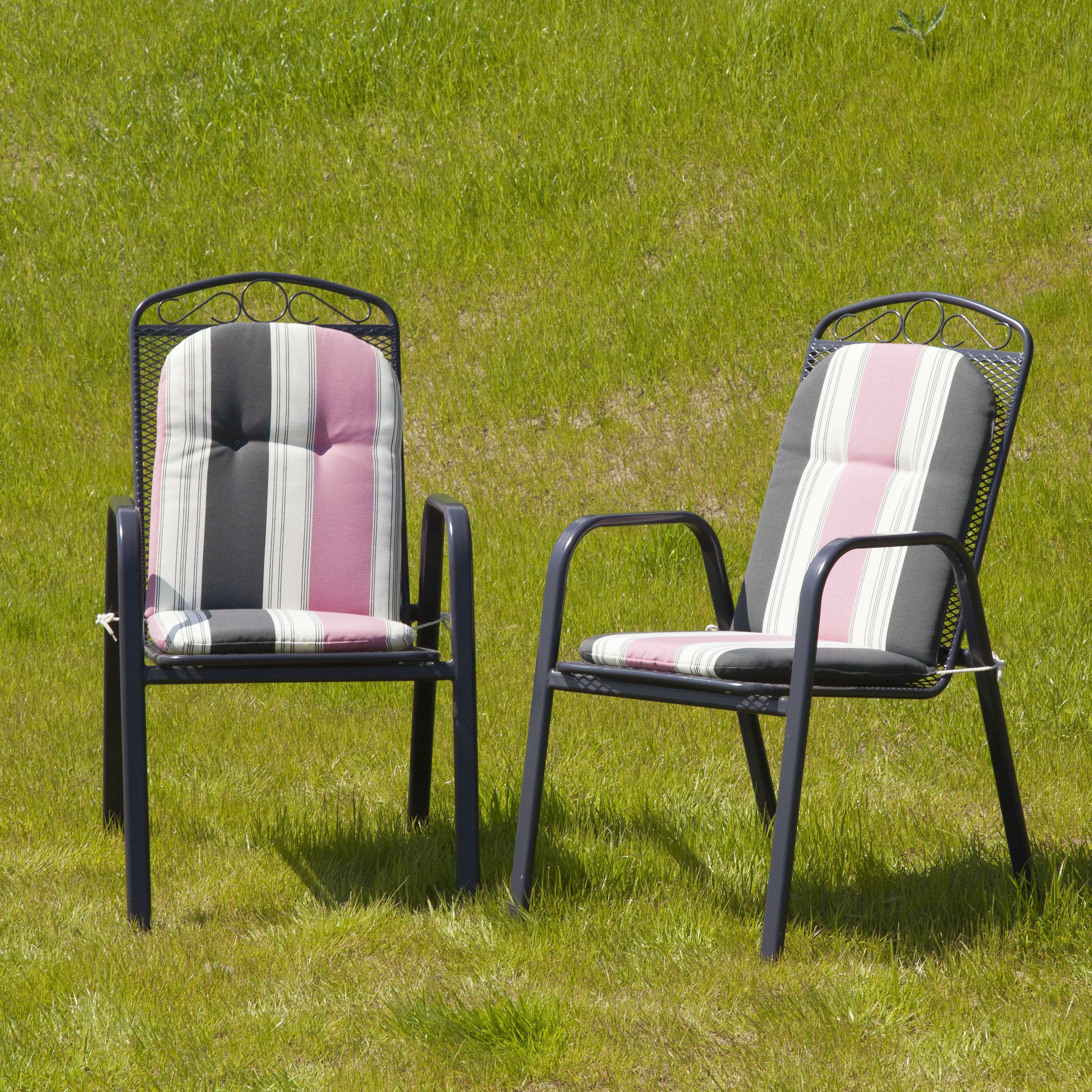 Materac ogrodowy 94x40x3,5cm szaro-różowe pasy 94x40x3,5cm