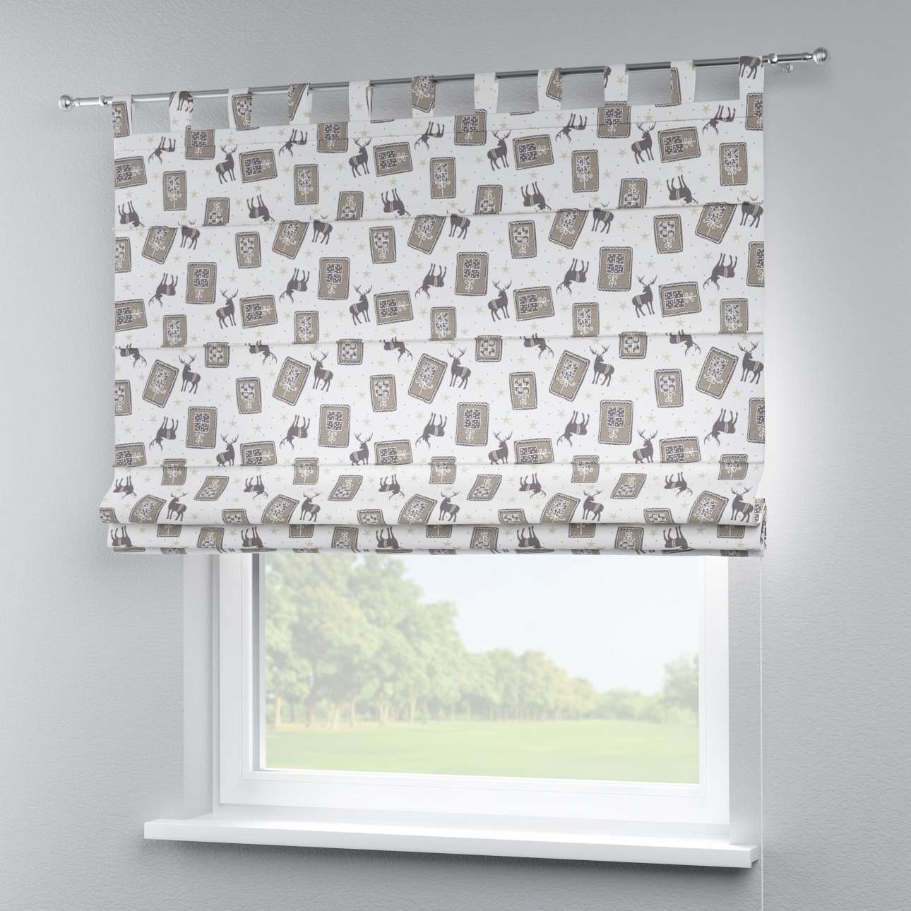Verona tab top roman blind 80 x 170 cm (31.5 x 67 inch) in collection Christmas , fabric: 630-10