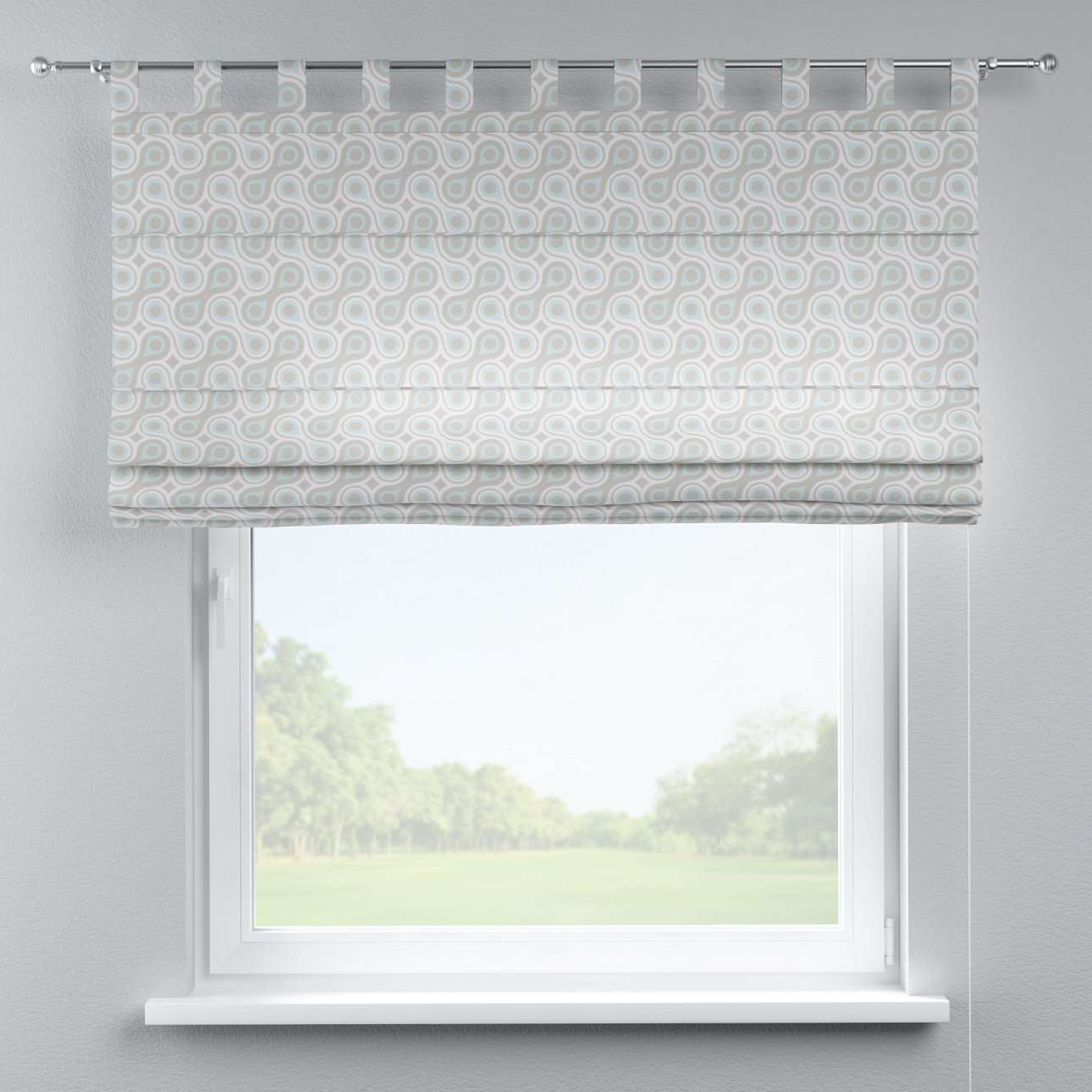 Verona tab top roman blind 80 x 170 cm (31.5 x 67 inch) in collection Flowers, fabric: 311-13
