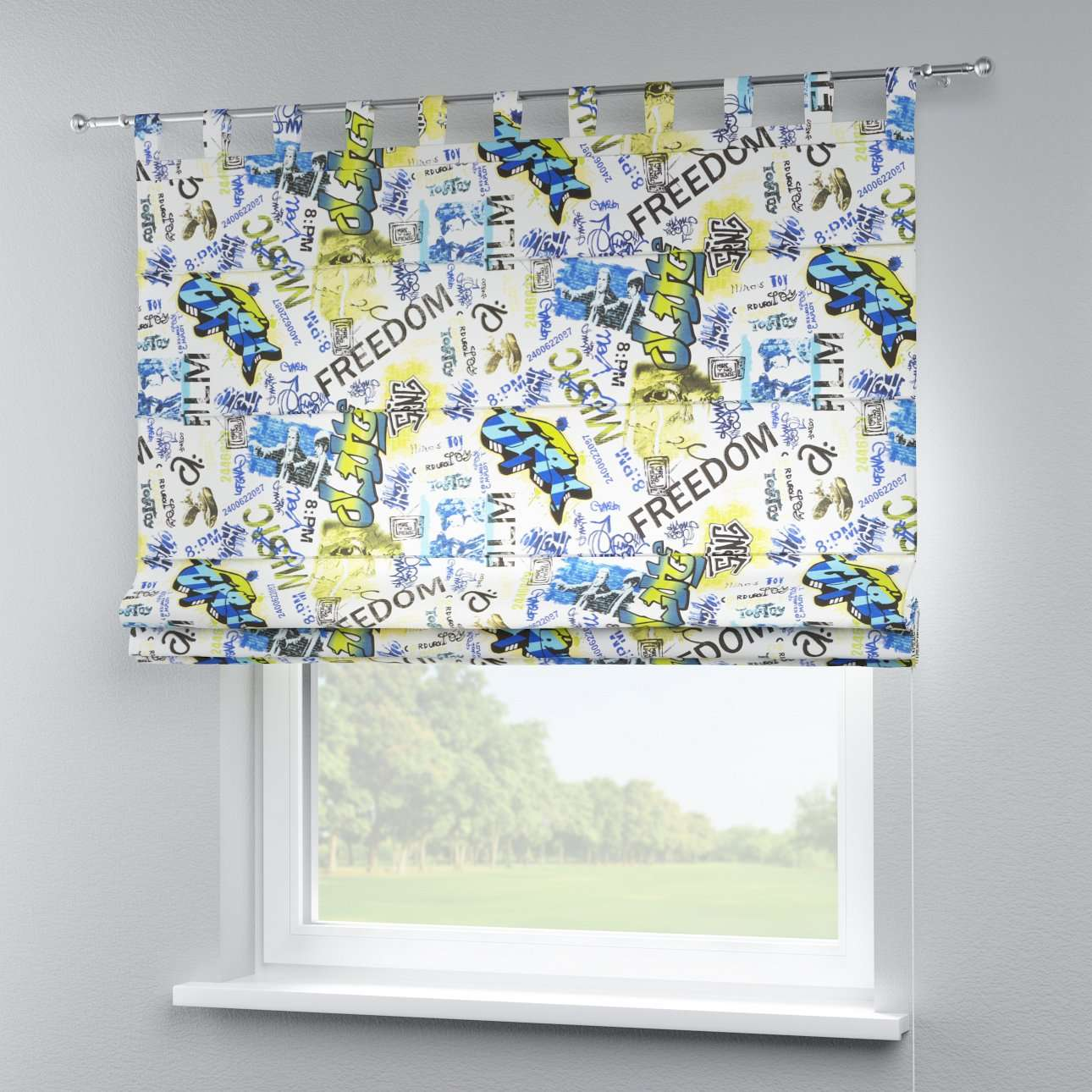 Verona tab top roman blind 80 × 170 cm (31.5 × 67 inch) in collection Freestyle, fabric: 135-08