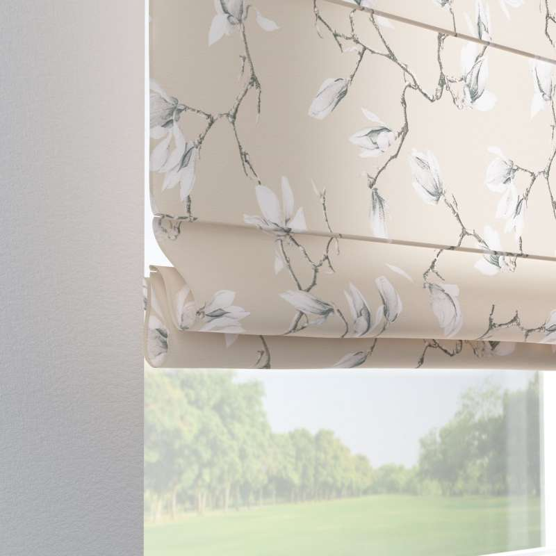 Verona Tab Top Roman Blind White Magnolias On Beige