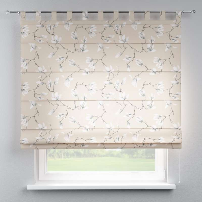 Verona Tab Top Roman Blind White Magnolias On Beige