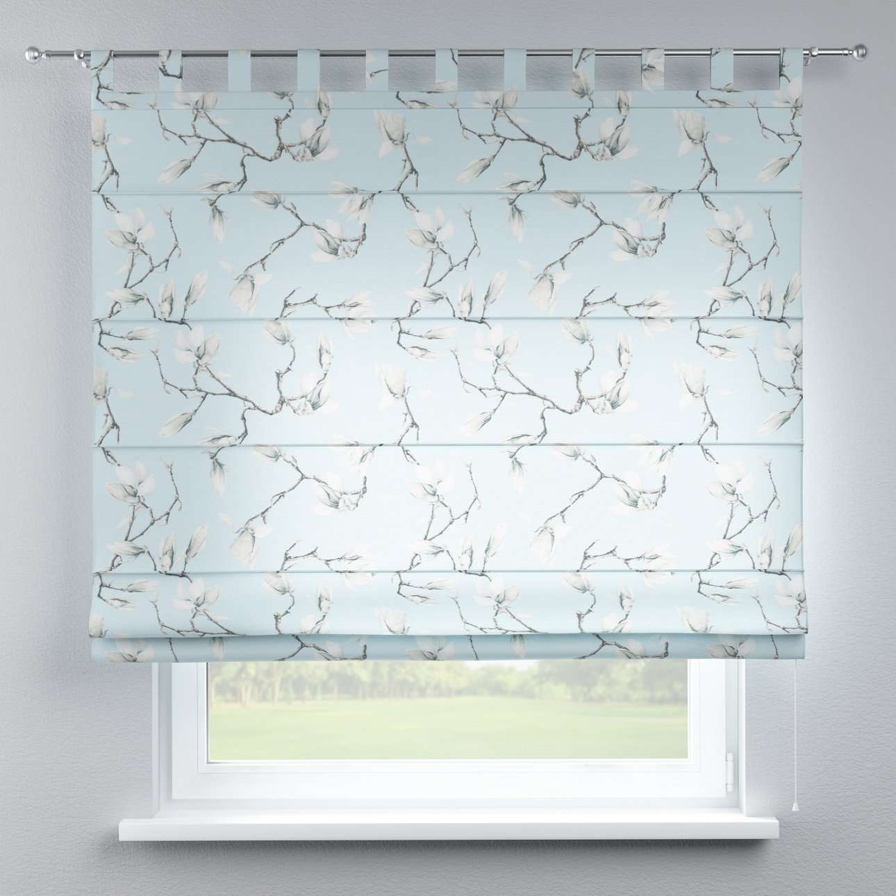 Verona tab top roman blind 80 x 170 cm (31.5 x 67 inch) in collection Flowers, fabric: 311-14