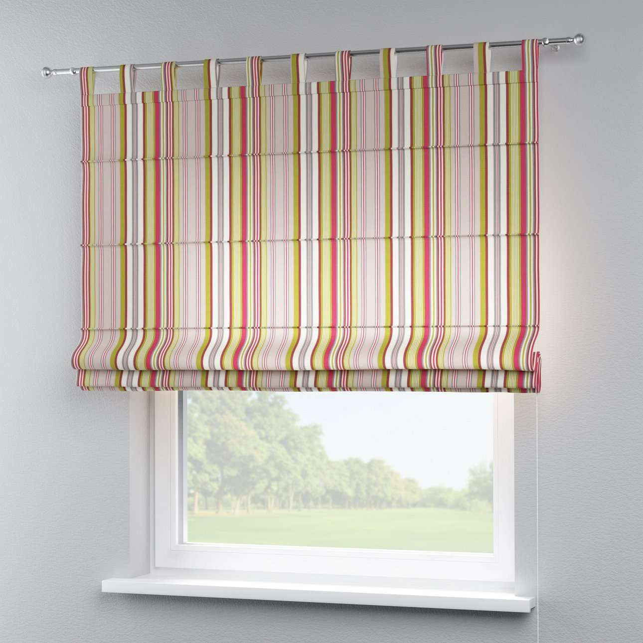 Verona tab top roman blind in collection Flowers, fabric: 311-16