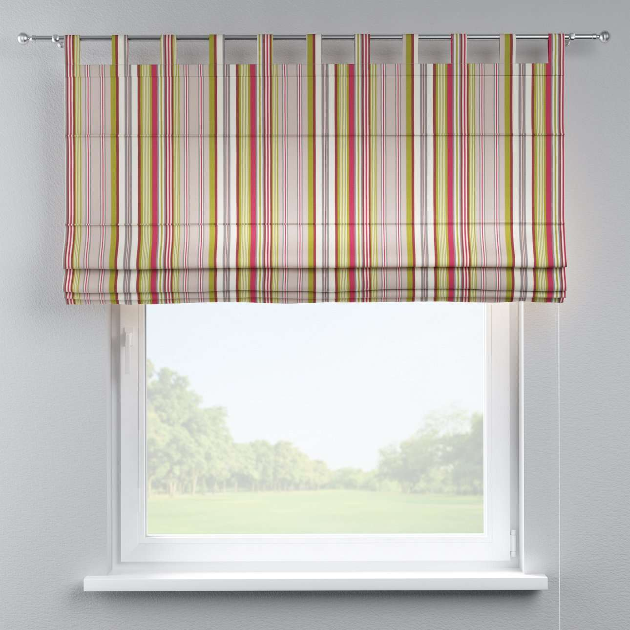 Verona tab top roman blind 80 x 170 cm (31.5 x 67 inch) in collection Flowers, fabric: 311-16