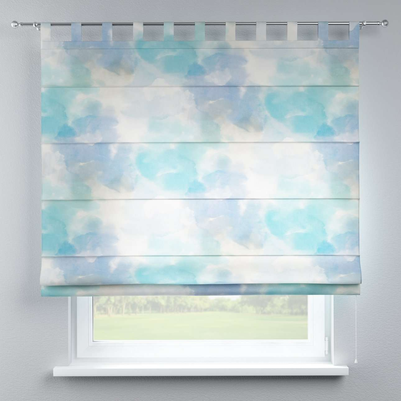 Verona tab top roman blind 80 × 170 cm (31.5 × 67 inch) in collection Aquarelle, fabric: 140-67
