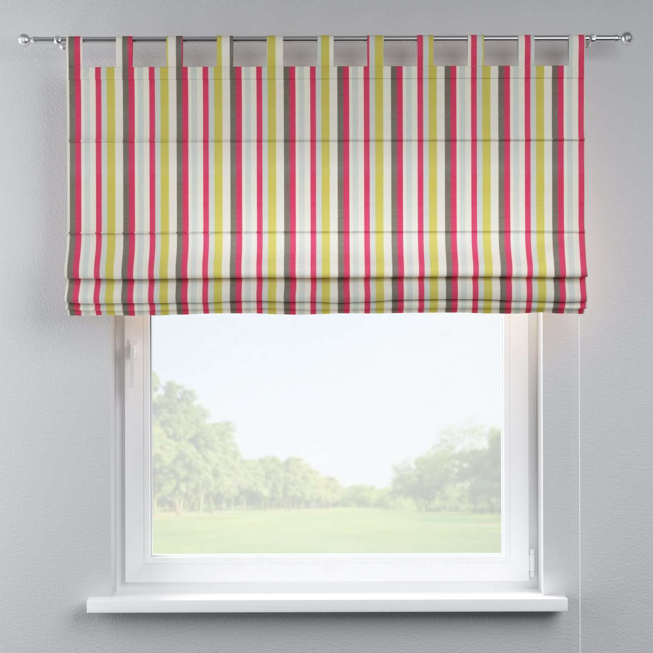 Verona tab top roman blind in collection Flowers, fabric: 140-81
