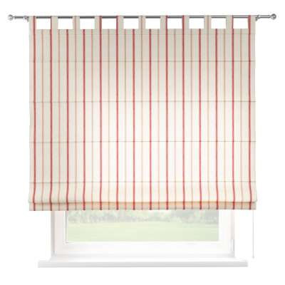 Foldegardin Verona<br/>Med stropper til gardinstang 129-15 Røde striber, creme baggrund Kollektion Avinon